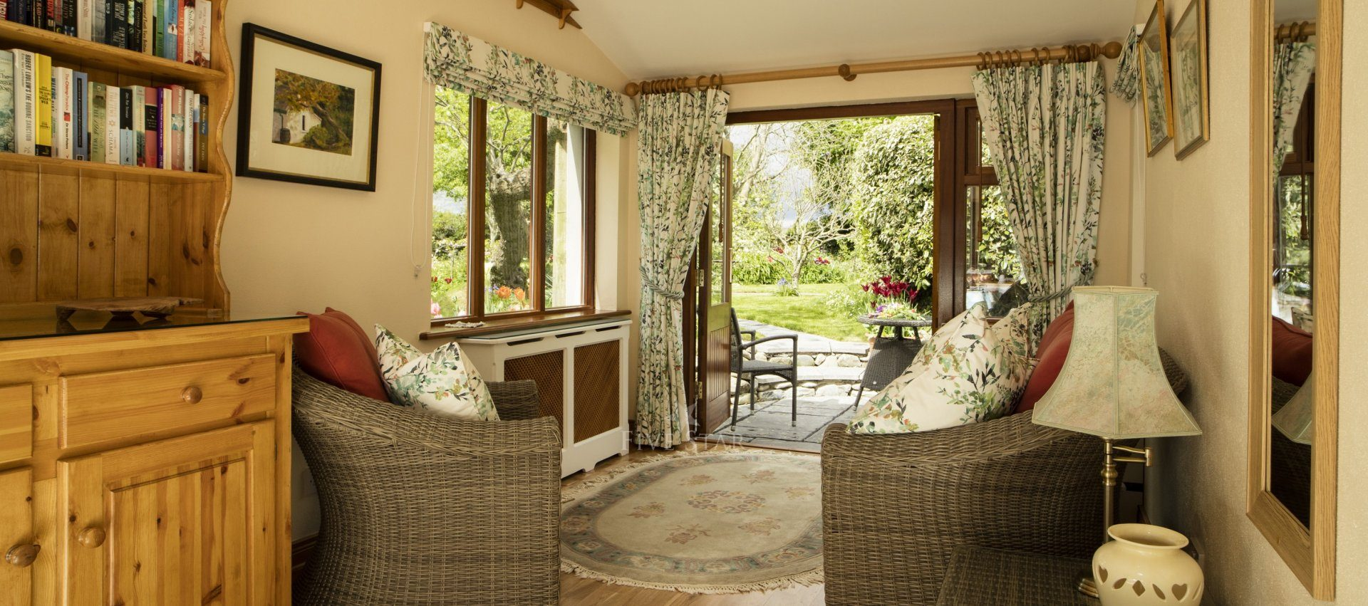 Honeymoon Cottage ~ Garden room with doubles doors out to terrace.