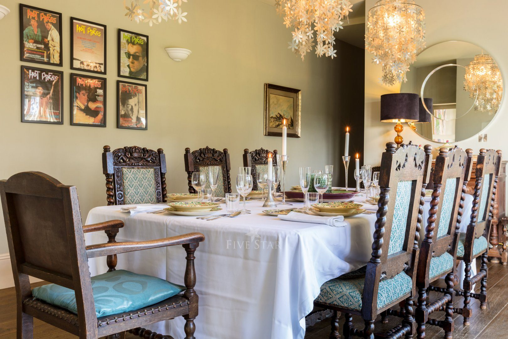Dining room set for dinner party